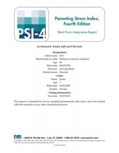 PSI - Short Form Interpretive Report - Psychological Assessment ...