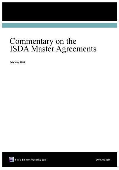 Commentary On The Isda Master Agreementspub Field Fisher