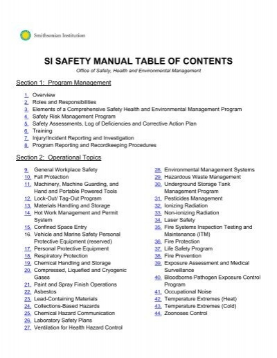 si safety manual table of contents ofeo smithsonian institution rh yumpu com Safety Program Iipp Safety Program Examples