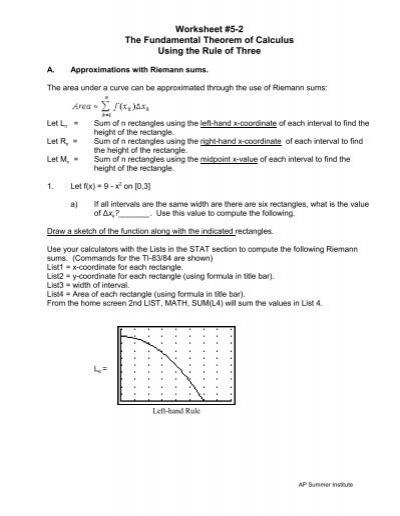 worksheet 5 2 the fundamental theorem of calculus using the. Black Bedroom Furniture Sets. Home Design Ideas