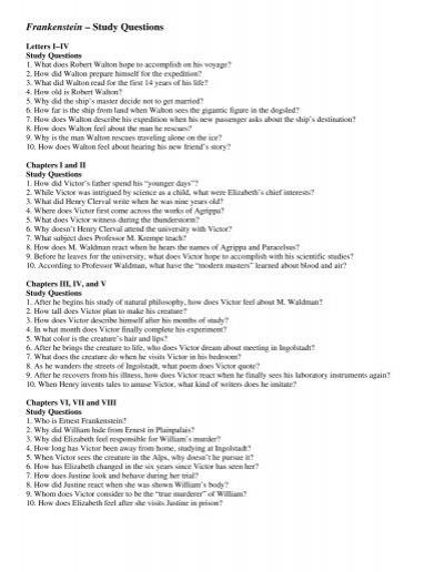 frankenstein u20ac u201c study questions rh yumpu com Frankenstein Quotes Frankenstein Study Guide Answer Key