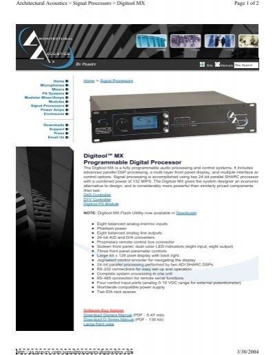 digitool mx programmable digital processor page 1 of 2