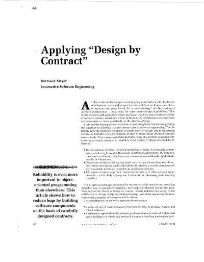 Applying Design By Contract Computer Ieee Xplore