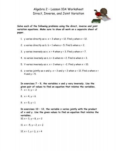 Worksheets Worksheet On Inverse Variation 92 direct and inverse variation graphs algebra 2 lesson 10a worksheet joint variation