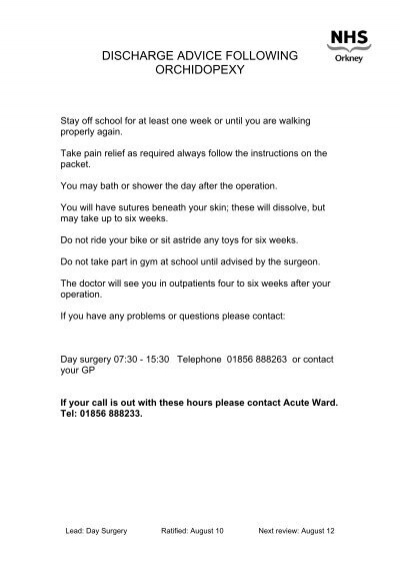 discharge advice following orchidopexy nhs orkney