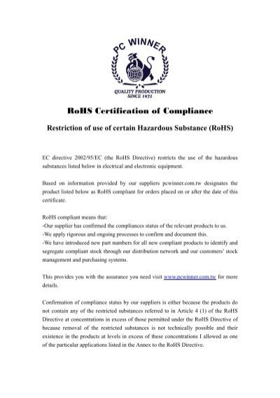 Certificate of Compliance to RoHS Environmental ... - Bridgelux