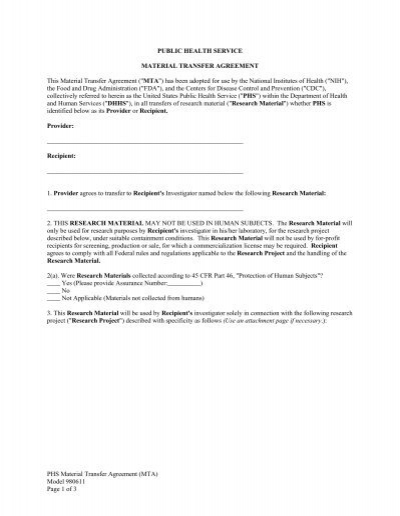 Material Transfer Agreement This Material Transfer