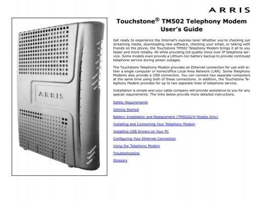 Arris Tm502 Tm822 Telephony Modem - Best Modem In The World