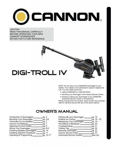 Cannon uni-troll 10 stx-ts tournament series manual downrigger.