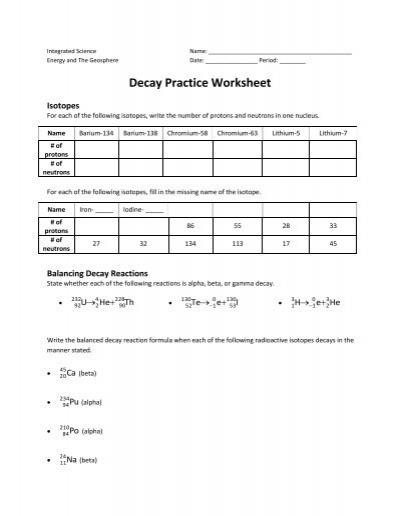 Decay Practice Worksheet Arapahoe High School