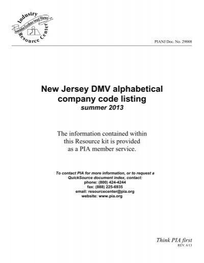 New Jersey Dmv Alphabetical Company Code Listing Professional
