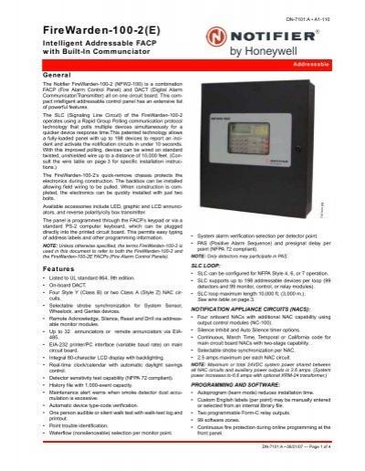 firewarden 100 2 e notifier rh yumpu com Notifier Fire Warden 100 Data Notifier 320 Fire Alarm Panel FDU 80 Rap