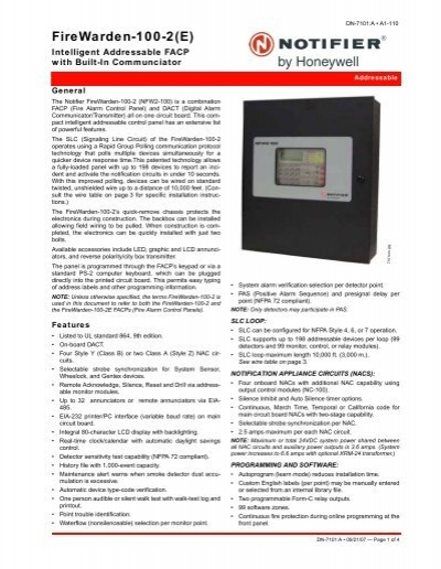 firewarden 100 2 e notifier rh yumpu com Notifier Fire Warden 50 Notifier Nfw2 100 Manual
