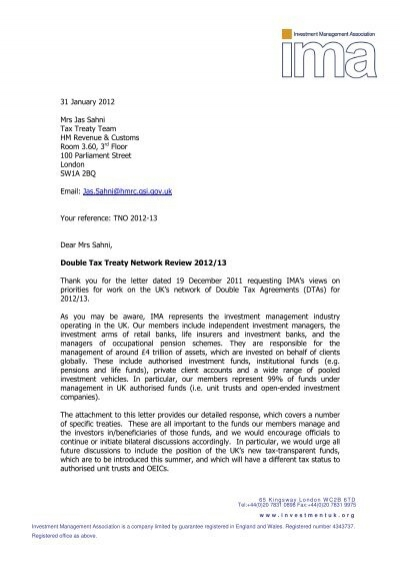 Hmrc Review Of Double Taxation Treaties Final Ima Response