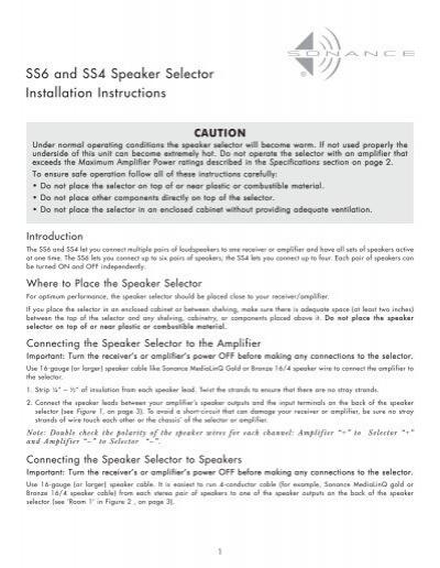 Sonance SS4 Speaker Selector