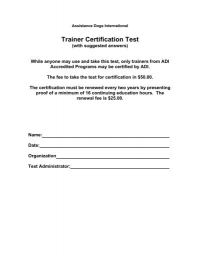 trainer certification test with answers adi - assistance dogs ...