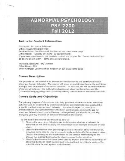 study of abnormal behavior
