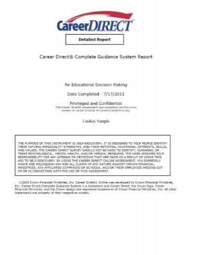 Career Direct Sample Detailed Report  Bju Press