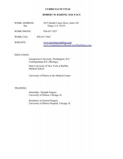 Download Dr Barone S Cv Oncology Associates Of San Diego