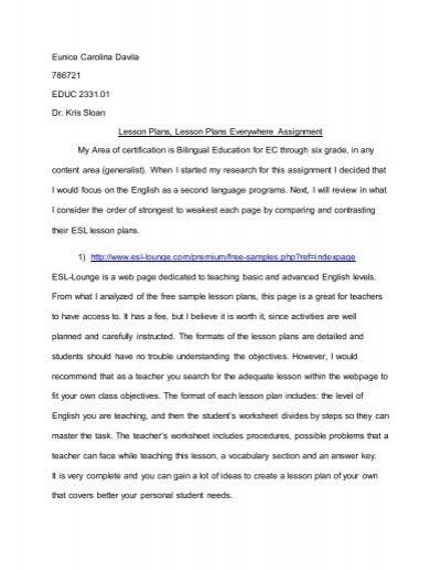 ESL Lesson Plans St Edwards University