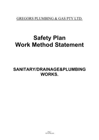 Safety Plan Work Method Statement - Plumber Sunshine Coast