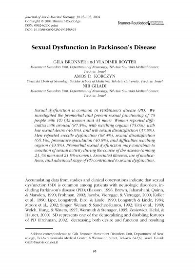 Colm parkinson wife sexual dysfunction