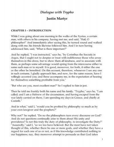 Justin martyr the dialogue with trypho dating