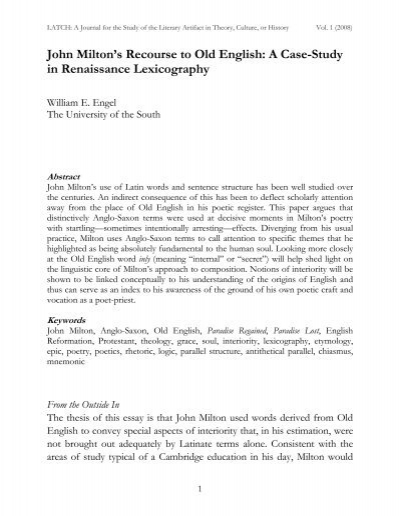 John Miltons Recourse To Old English A Casestudy In   Latch