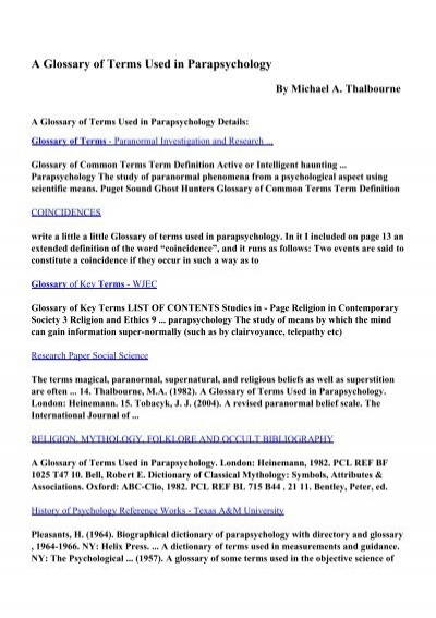 Download A Glossary Of Terms Used In Parapsychology Pdf Ebooks