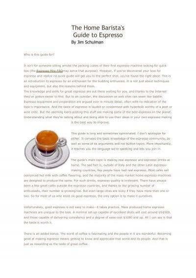 The Home Barista's Guide to Espresso - Coffee Prince in Surat