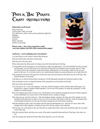 Paper Bag Pirate Craft Instructions Cl Clickard