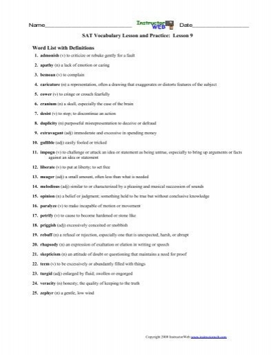 Sat Vocabulary Lesson And Practice Lesson 9 Instructorweb
