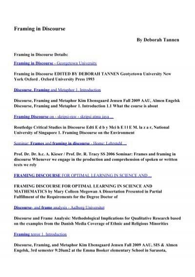 Download Framing In Discourse Pdf Ebooks By Deborah Tannen