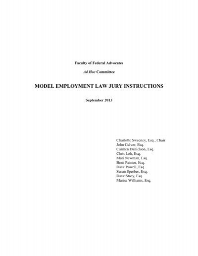 Model Employment Law Jury Instructions Faculty Of Federal Advocates