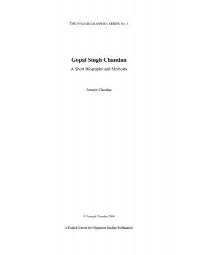 Gopal Singh Chandan - Sikh Heritage
