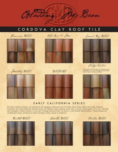 Cordova Clay Roof Tile Gladding Mcbean