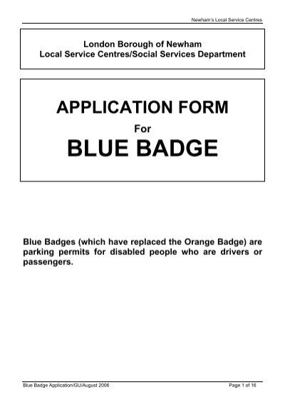 application form blue badge - Newham on blue electric, blue back form, parking ticket form, driving license form, blue button form,