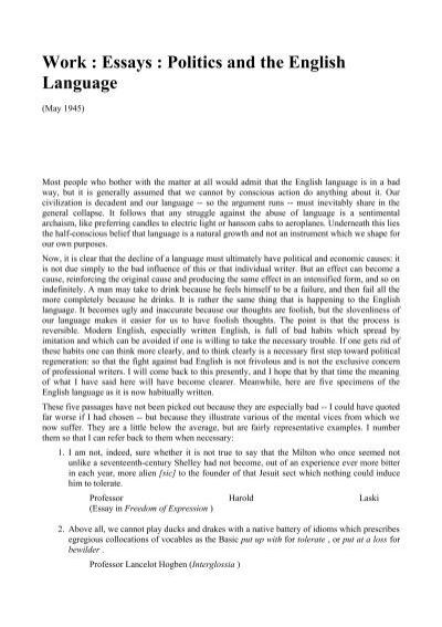 work  essays  politics and the english language  bonus manuals