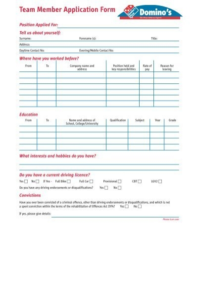 Domino S Pizza Application Form Dolapgnetband