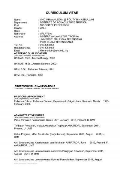 curriculum vitae akuatrop umt universiti malaysia terengganu