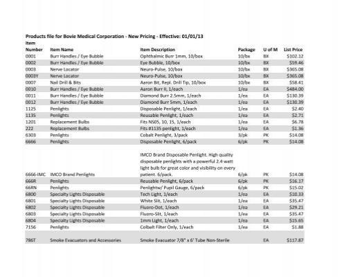 Bovie Price List PDF Download - Booth Medical Equipment