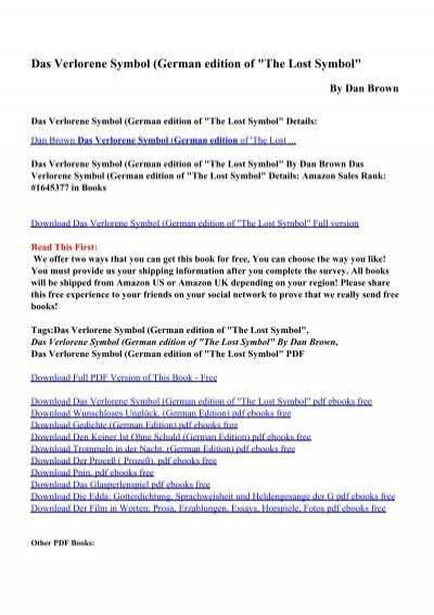 Download Das Verlorene Symbol German Edition Of The Lost