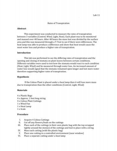 rate of transpiration experiment