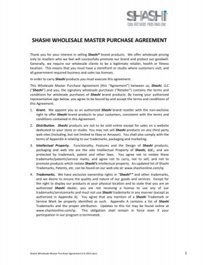 Shashi Wholesale Master Purchase Agreement 6 4 2013