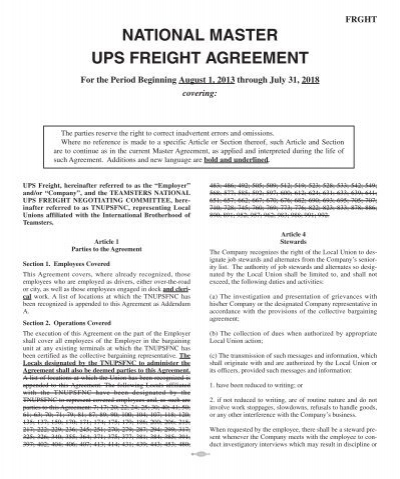 National Master Ups Freight Agreement 2013 2018 Teamsters