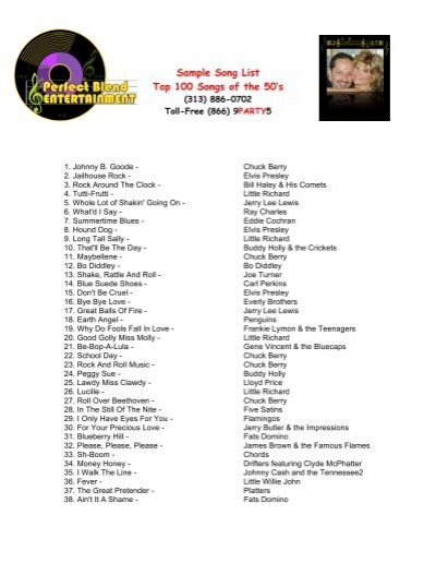 Top 100 Songs Of The 50s Perfect Blend Entertainment