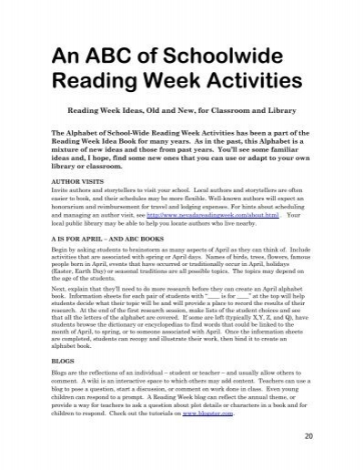 An abc of schoolwide reading week activities nevada reading an abc of schoolwide reading week activities nevada reading fandeluxe Image collections