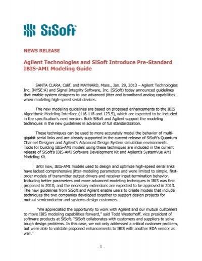 Agilent Technologies And Sisoft Introduce Pre Standard Ibis Ami