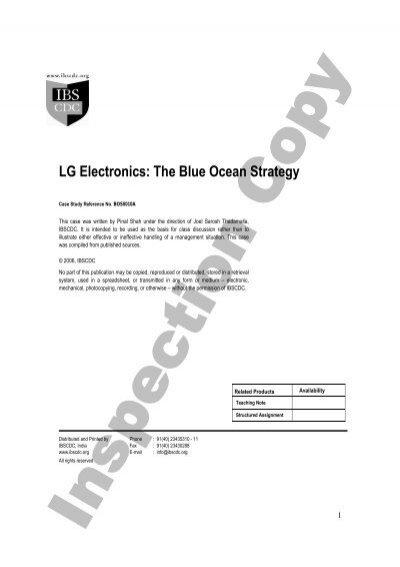 lg blue ocean strategy Immerse yourself in blue ocean strategy concepts, tools and frameworks and start to create 'blue oceans' of uncontested market space to.