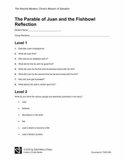 The Parable of Juan and the Fishbowl Reflection - Saint Mary's Press